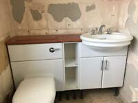 Concealed cistern and sink vanity unit gloss white