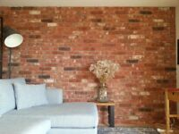 Brick slips Rustic Antique, red/black/white flamed, ref 601/612NF Hand moulding.