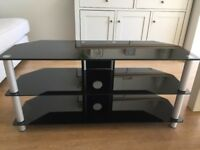 Black glass TV corner stand - great condition
