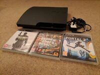 PS3 Slim 160GB (Sony Playstation) with GTA V, Portal 2, CoD Modern Warfare 3 (No Controllers))