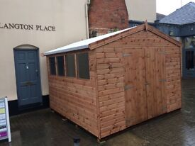 10 x 10 shiplap apex, 50 x 50 frame floor, treated , erected,double doors, ex show used for week end