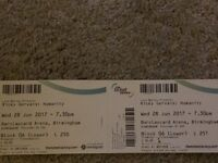 Ricky Gervais. Humanity show. Barclaycard arena. X2 seated tickets. Wednesday 28th June 2017