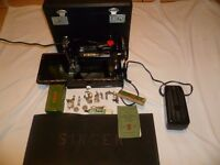 Featherweight Singer 221K sewing machine, attachments & Instruction Manual
