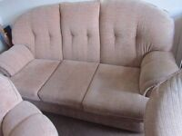 3 piece suite. 2 seater sofa and 2 armchairs and foot stool. FREE DELIVERY