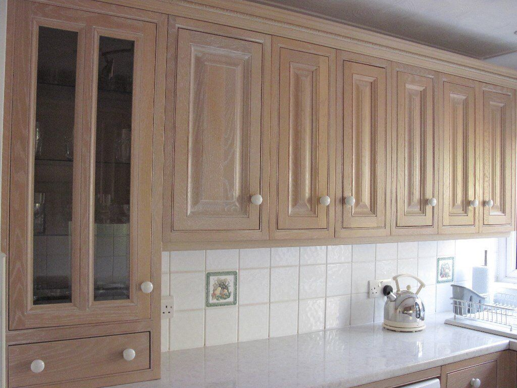 Reduced solid limed oak kitchen cupboards sink hood for Kitchen units without plinths