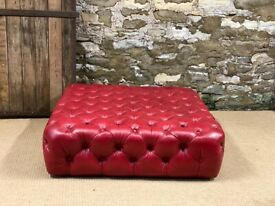 RED LEATHER CHESTERFIELD Leather Footstool