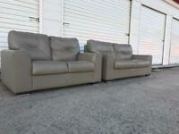 Grey leather compact sofas, free local delivery