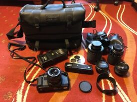 Centon DF-300 camera, lenses, flash and case