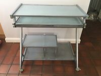 Metal and glass computer desk for sale
