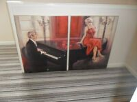 PAIR OF LARGE PICTURES/WALL HANGINGS - LADY IN RED - SIGNED