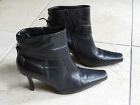 Lilley & Skinner Smart Black Leather Ankle Boots