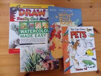 3 Kids Drawing tutorial books and watercolour book BUNDLE