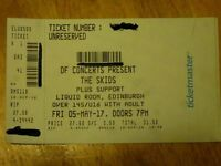 1 ticket for The Skids 40th Anniversary gig on 5th May 2017 at Liquid Rooms Edinburgh £35