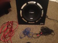1200 watt vibe subwoofer built in Amp + vibe fast plug for easy instalment and all wires