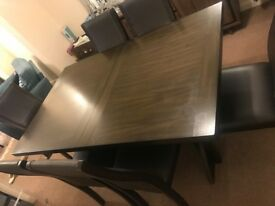 Solid Wood Walnut Dining Table + 6 Leather Chairs