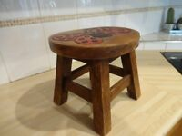 CHILD'S STOOL -- HAND PAINTED -- HAND CARVED -- BUTTERFLY