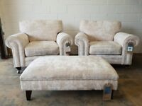 BRAND NEW STILL WITH TAGS FABB SOFAS VALENTINES FABRIC ARMCHAIRS & FOOTSTOOL DELIVERY AVAILABLE