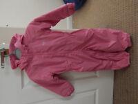 Regatta all-in-one girls fleece-lined, hooded, waterproof suit, age 24-36 months
