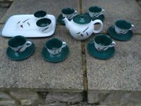 *IMMACULATE* VINTAGE DENBY GREENWHEAT TEA SET WITH MATCHING TRAY