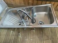 Large single bowl sink with tap- silver. Selling complet & ready to install