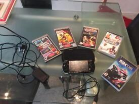 PSP console with five games