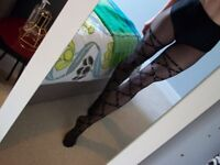 WOLFORD DESIGNER tights (worn once) Gothic sexy black with studs (LONDON CASH ON COLLECTION)