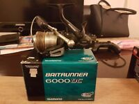Shimano baitrunner 6000 oc reel loaded with 50lb berkley whiplash camo braid