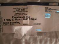 Bon Iver ticket for Sale 2nd March Eventim Apollo