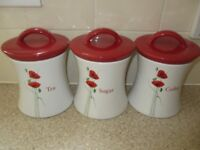 Tea, Coffee,& Sugar ceramic storage jars. £5.00 cash only. For collection from Romford, Essex