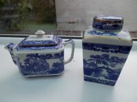 Ringtons blue and white tea pot and ginger jar by Wade.
