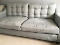 Immaculate 3 seater grey tweed fabric sofa with button back and square arms