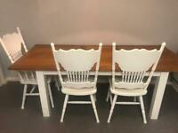 Solid Oak extendable table with 4 chairs