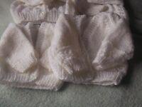 4 newborn cardigans i n white pink cream and blue