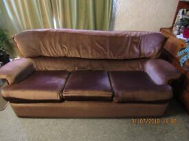 Three Piece Suite - Chocolate Brown Velour and Wood