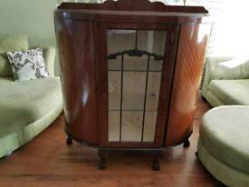 Vintage Retro Large Bow Front Dresser Sideboard Queen Anne Style Legs Display Cabinet