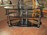 black glass tv stand chrome with shelve