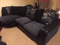 DFS Black and Silver Leather and fabric sofa