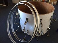 "Vintage White Remo Quadura 22"" Kick Drum (For Parts/Spares/Repairs)"