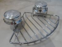 * Croydex Twist 'n Lock Chrome Sucker Corner Bathroom Wire Basket Shower Soap Dish Holder Storage *