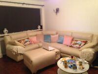 Cream Leather Corner Electric Recliner Sofa