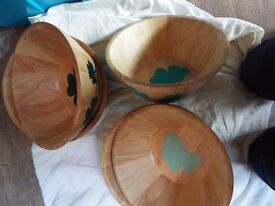 CAR BOOT LOT Hand decorated wooden bowls B.N