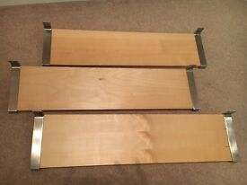 Three IKEA shelves with brackets (no screws) in beech