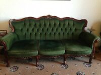 Quality French Louis XV Style Carved 3 Piece Suite
