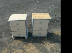Pair pine 3draw bedside cabs