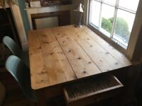 Pine Farmhouse Dining Table, seats 4-6