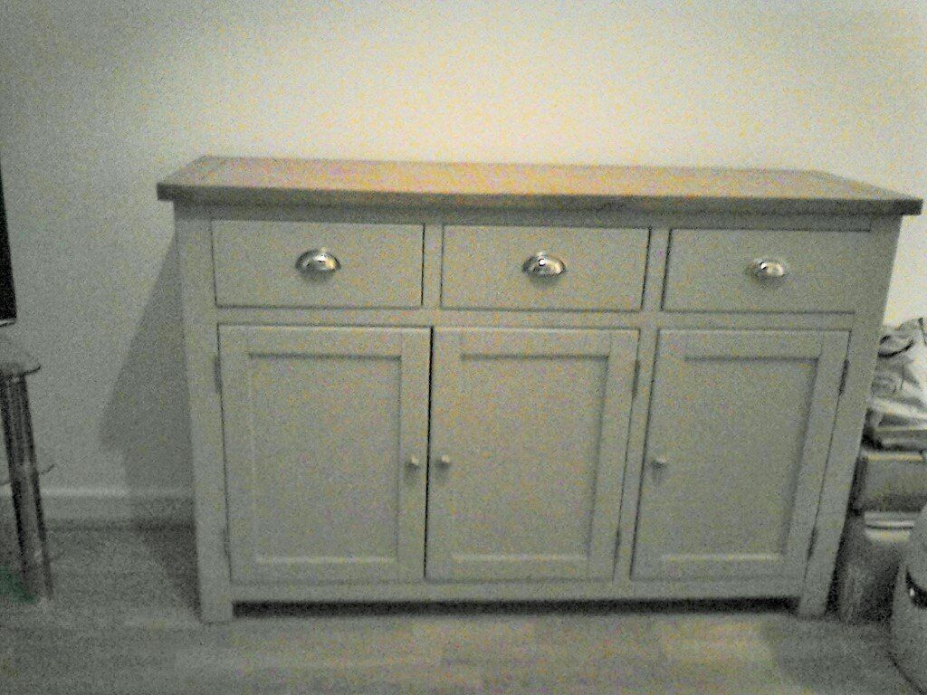 Beautiful high quality Sideboard in grey/green shade with natural oak top - 3 cupboards & shelving