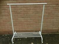 2 x white metal clothes rails