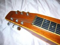 ** VINTAGE 1980s HAWAIIAN LAP STEEL SLIDE GUITAR WITH ORIGINAL HARD CASE STEEL TONE BAR AND PICKS**