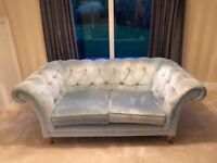 Laura Ashley beautiful blue velour chesterfield style made to order sofa