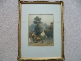 George Sidney Shepherd NWS - Signed Original Watercolour - Village Scene